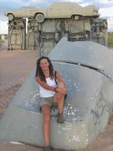 Elizabeth Fenn in Carhenge, Nebraska, summer 2014