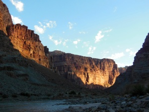 Early morning light, Cataract Canyon on the Colorado River. (Photo credit: author's own)