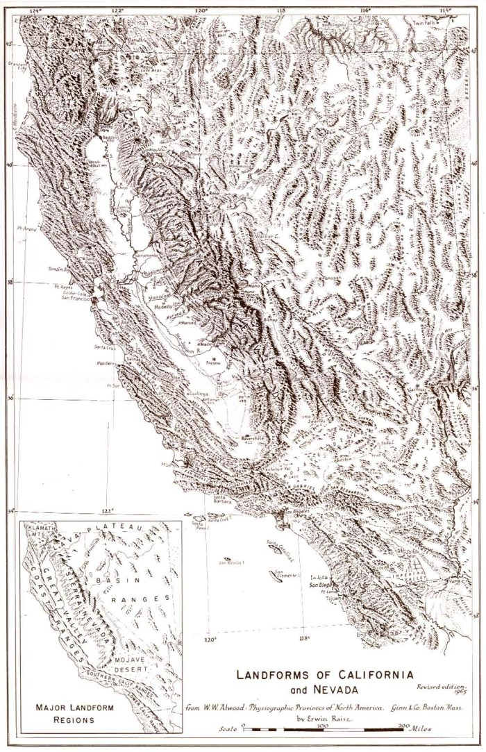 Erwin Raisz, Landforms of California and Nevada, c. 1967. Graphic courtesy Raisz Maps.