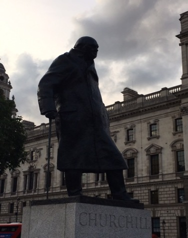 Statues of Churchill and Smuts sit awkwardly...